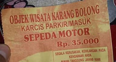 , Harga Parkir Motor Di Pantai Karang Bolong mencapai 40ribu, INFO TANGERANG, INFO TANGERANG